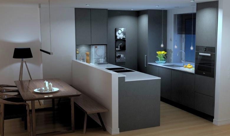 Küche mit Tresen geplant von Hilke Kwasnicki